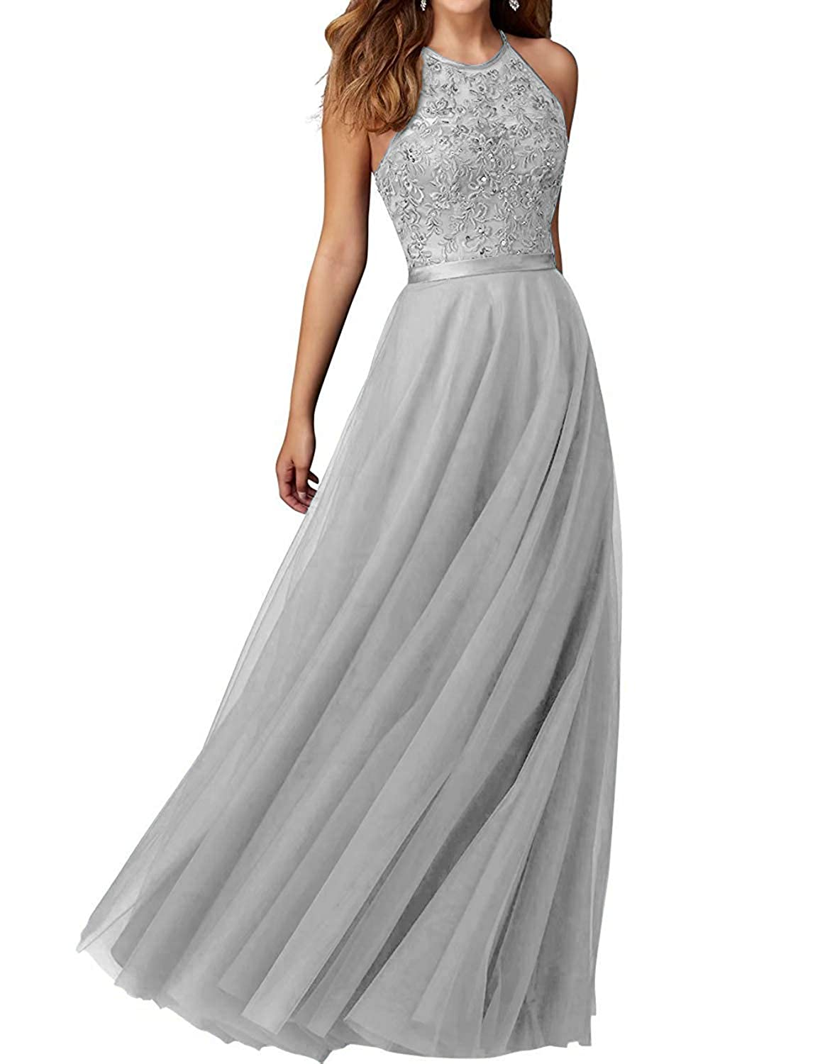 Silver PearlBridal Women's Appliques Halter Tulle Bridesmaid Dresses High Neck Long Evening Formal Gown