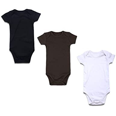 8955326e1262 OPAWO 3-Pack Baby Short Sleeve Bodysuits Cotton Lap Shoulder Romper for  Unisex Boys Girls