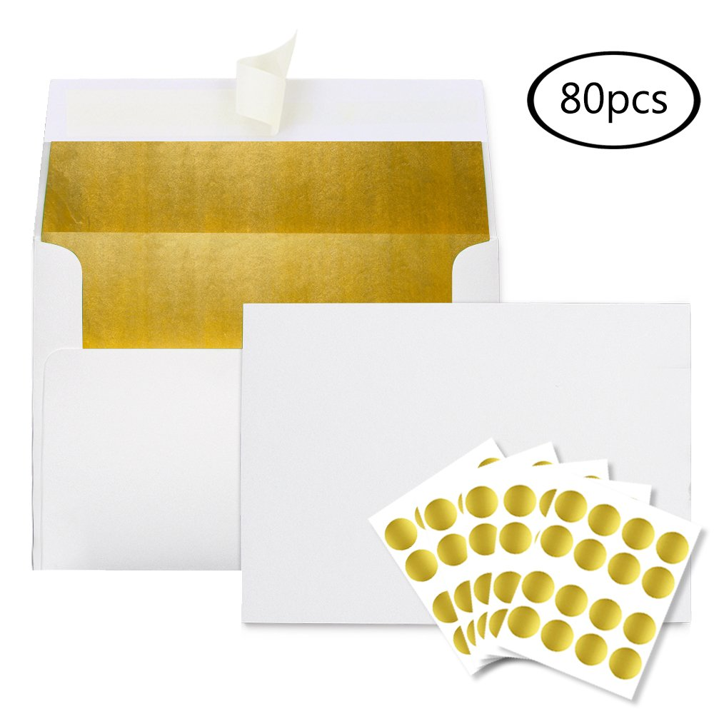 JPSOR Invitation Envelopes—80 A7 Gold Foil-Lined Envelopes with Gold Foil Stickers for Weddings, Parties, Banquets, Graduations (Gold Foil-Lined)