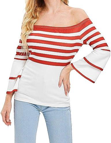 Lenfesh Blusas para Mujer, Blusa Elegantes de Mujeres Camisetas Camisa Manga Larga de Hombros Descubiertos Blusa de Raya de Mujeres Tops: Amazon.es: Ropa y accesorios