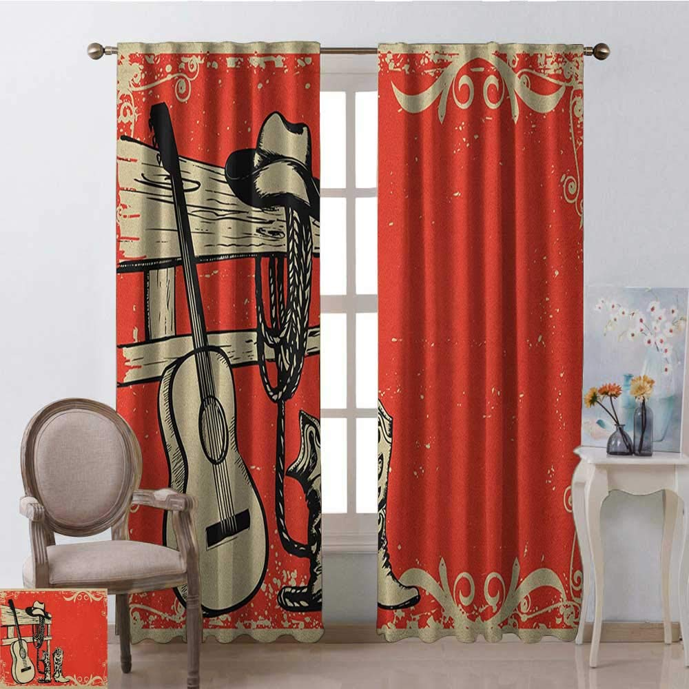 Western Shading Insulated Curtain Image of Wild West Elements with Country Music Guitar and Cowboy Boots Retro Art Soundproof Shade W100 x L84 Inch Beige Orange by GUUVOR