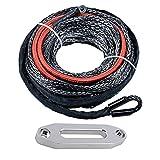 "50' x 1/4"" 6400lbs Synthetic Winch Line Cable Rope w/ Heat Guard + Hawse Fairlead for Jeep ATV UTV KFI"