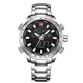 NAVIFORCE 9093 (Silver White) Men Sports Waterproof Stainless Steel Pointers And LED Display Quartz