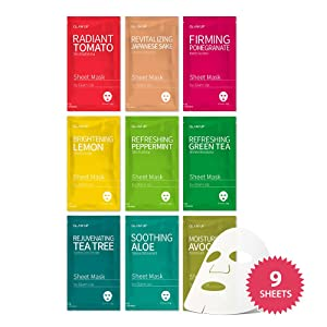 Sheet mask by Glam Up Facial Sheet Mask BTS 9Combo-The Ultimate Supreme Collection for Every Skin Condition Day to Day Skin Concerns. Nature made Freshly packed Original Korean Face 9 sheet Mask