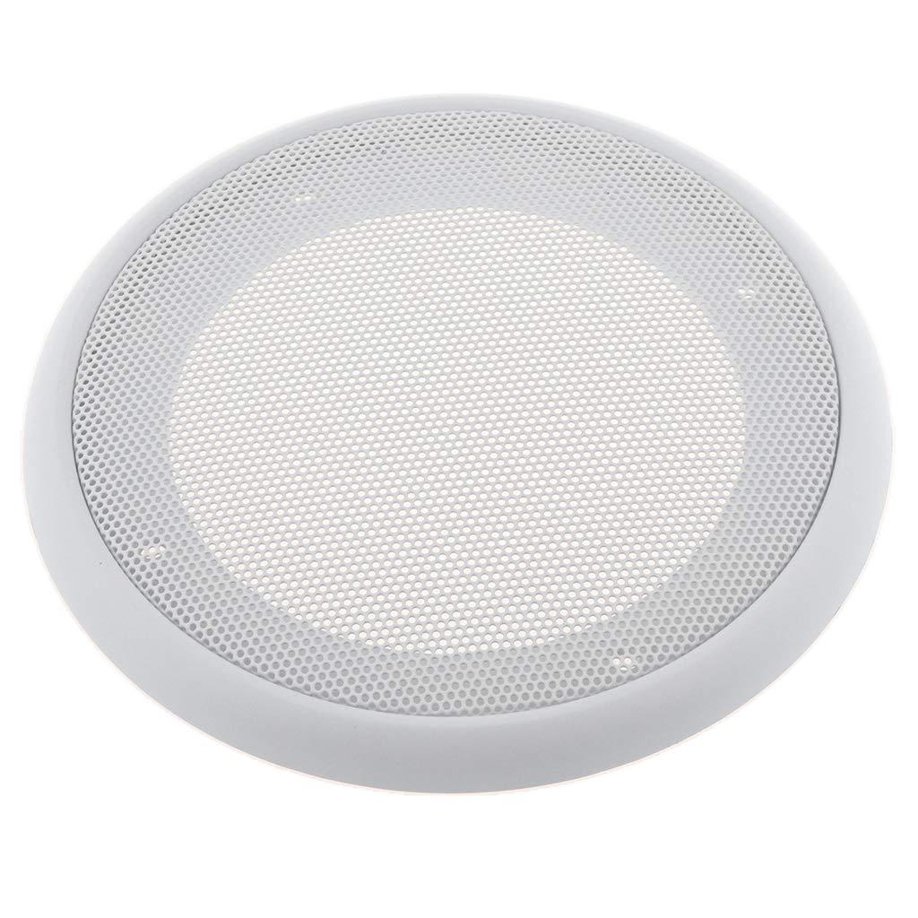 Blanc perfk Grilles Rondes dHaut-Parleur en M/étal Durable et Portable pour Voiture Woofer Boitier 4-8 Pouces 9,45x9,45 Pouces