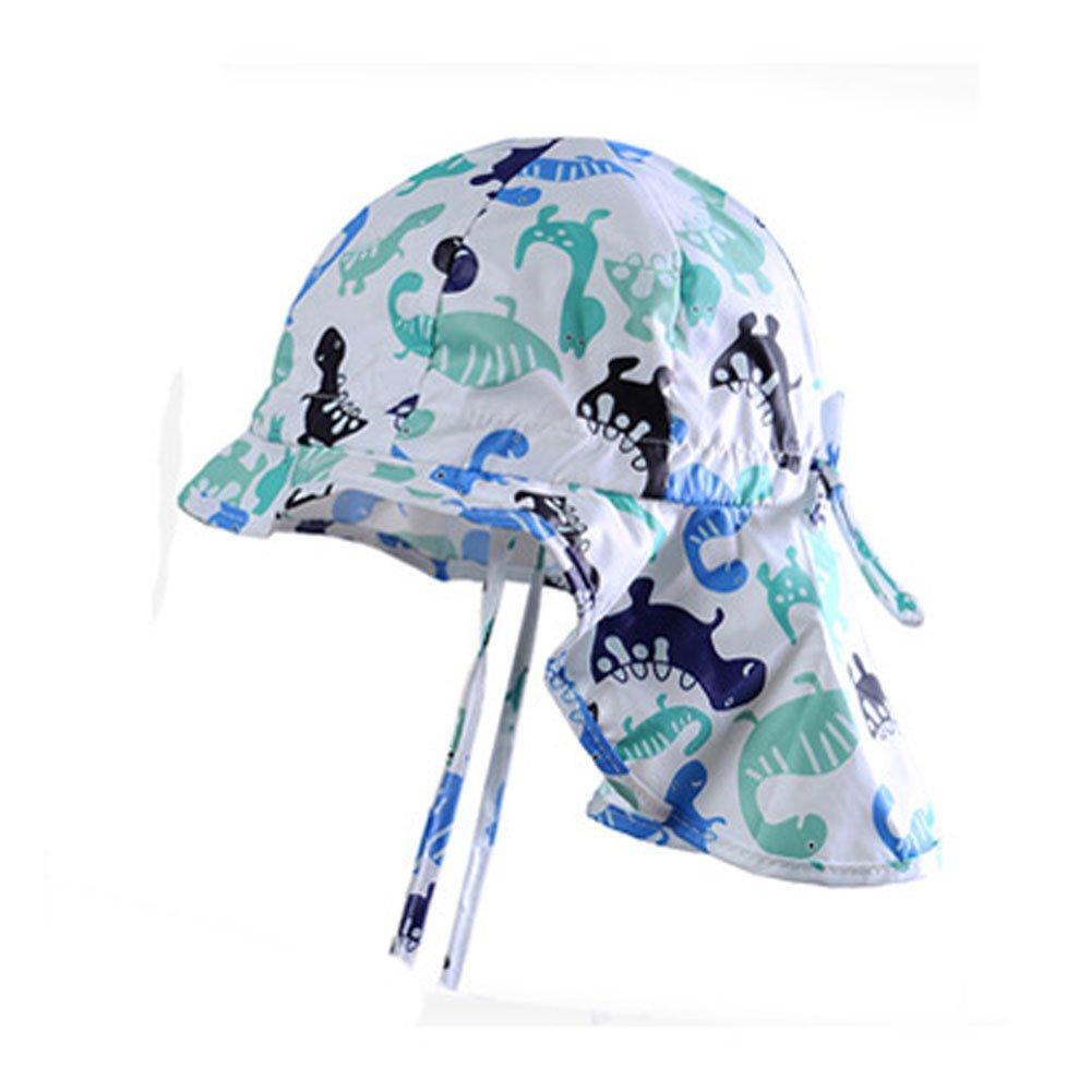 Baby Sun Hat with Chin Strap and Neck Protection,Sun Hat Adjustable & Breathable for Infant Dinosaur Printed Hat Cap (White, 12-24 Months)