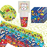 Gamers Game On Epic Party Supplies Cups Plates Napkins and Tablecover Bundle