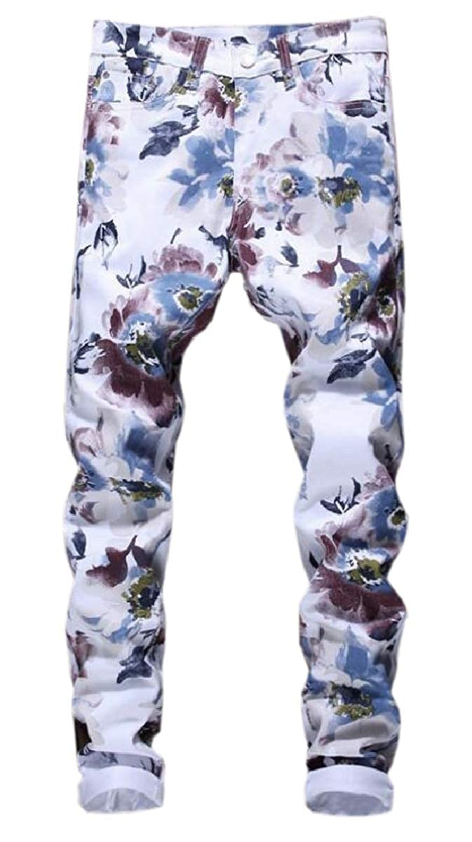 ZXFHZS Mens Slim Fit Floral Printed Slim Fit Straight Jean Long Pants