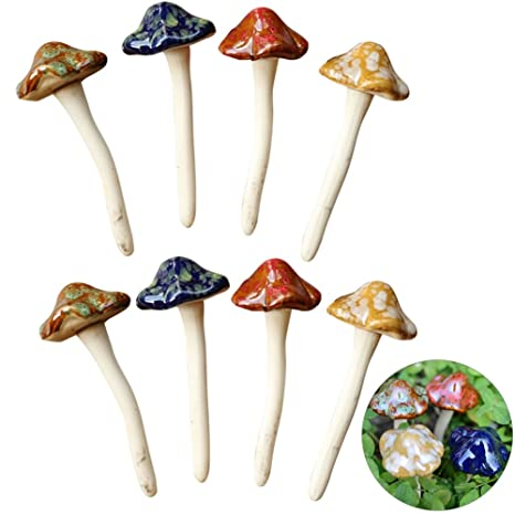 Exttlliy 8Pcs Ceramic Garden Mushrooms Figurine Decorative Plants Stakes  Accessories Lawn Ornaments Statue For Outdoor