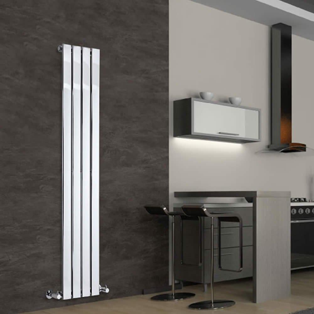 Hudson Reed - Radidador Cromado Alpha Diseño Vertical Para Calefacción de Agua | Acero Sólido | 1600 x 300mm | 308 Vatios | 4 Elementos Planos | Garantía ...