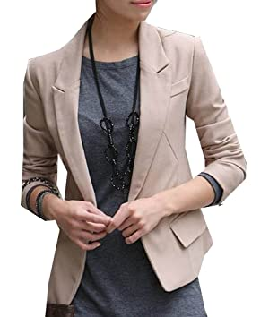 Comfy Womens Stylish Wear to Work Slim Fit Short Suit Overcoat Khaki XL