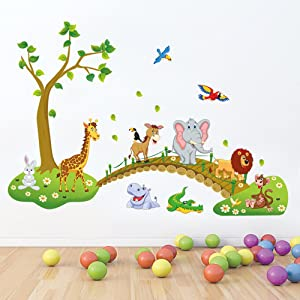 decalmile Jungle Animals Tree Wall Stickers Lion Giraffe Elephant Walking on Bridge Wall Decals Kids Room Wall Decor Baby Room Nursery Bedroom Wall Decoration