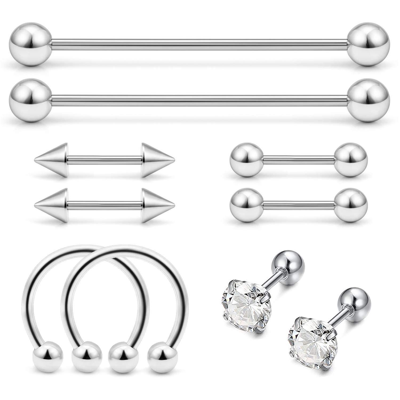 e048683db JFORYOU 10 Pcs Stainless Steel Cartilage Piercing Industrial Barbell Tragus  Helix Stud Earrings Hoop for Women Men Nose Lip Piercing Rings Body  Piercing ...
