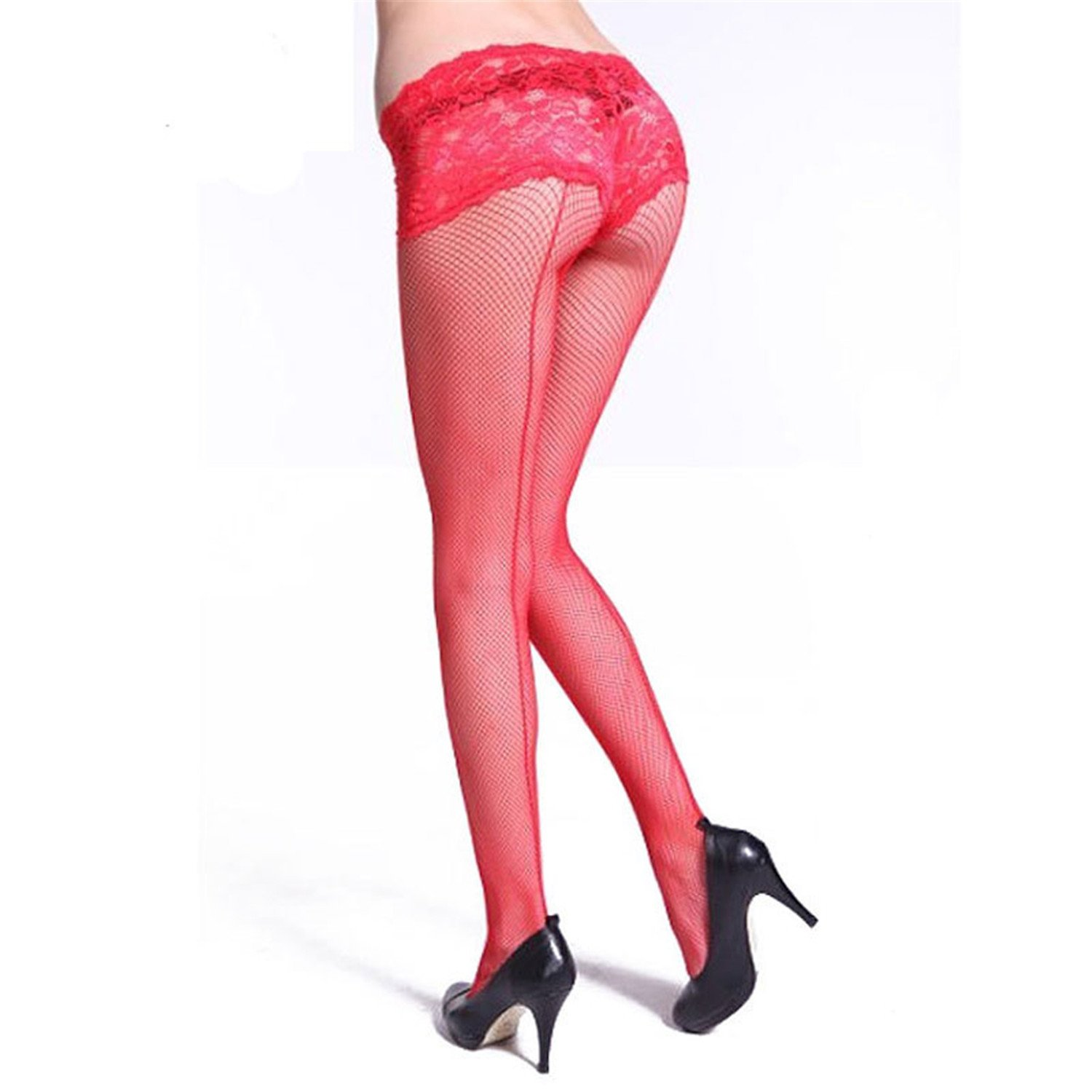 Solme Women New Style Black Line Back Fishnet Pantyhose Nylon Tights Stockings Pantyhose High Over Knee Red