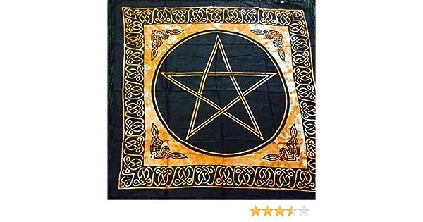 NEW AGE Pentagrama Altar Tarot Gamuza de algodón Wicca Pagan diseño: Amazon.es: Hogar