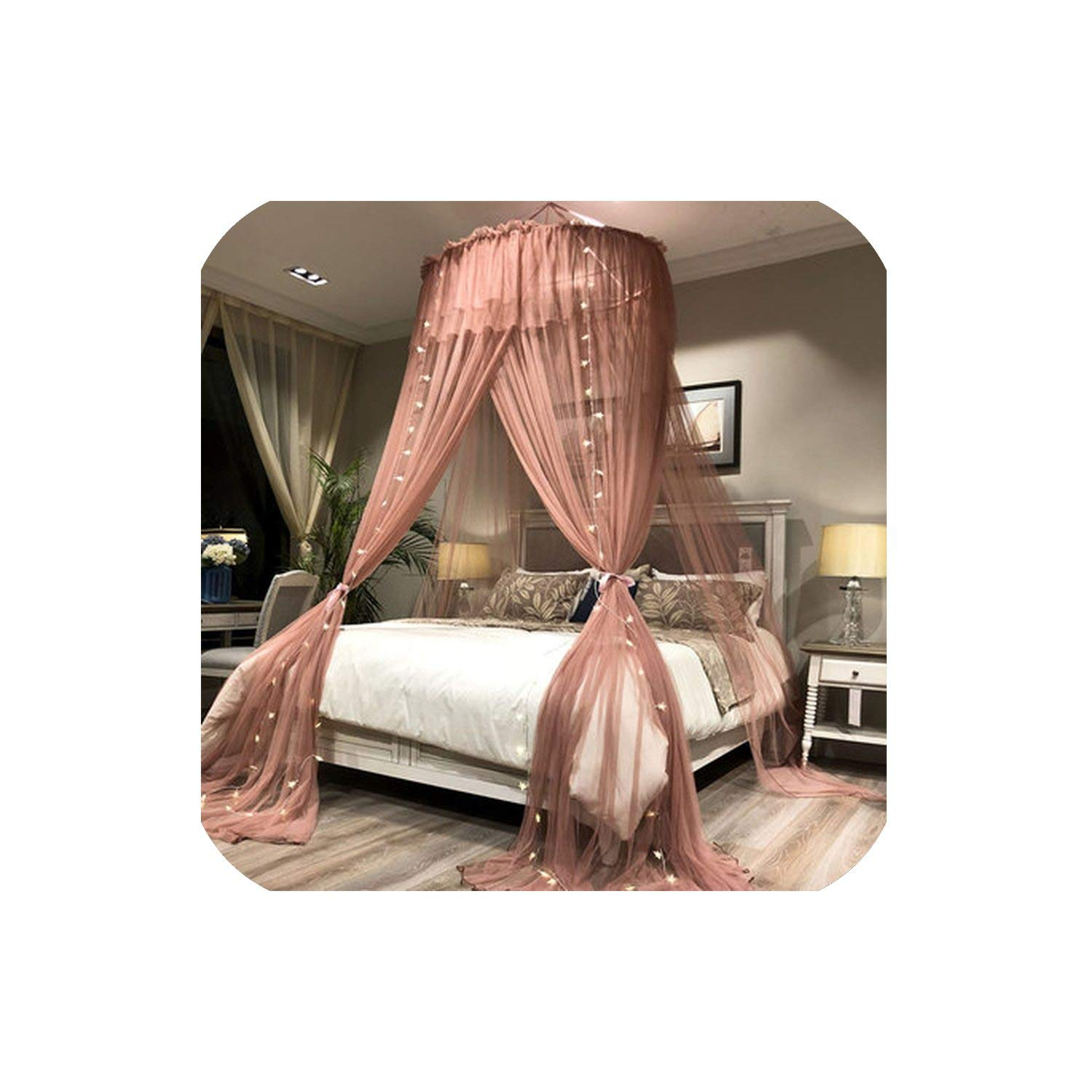 Princesshung Dome Mosquito Net Round Lace Curtain for Home Textile Bed Canopy Crib Polyester Mesh Tent Girls,Pale Mauve,1.2M (4 Feet) Bed