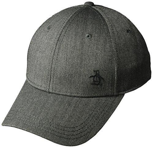 Original Penguin Men's Herringbone A-Flex Baseball Cap, Charcoal, L-XL
