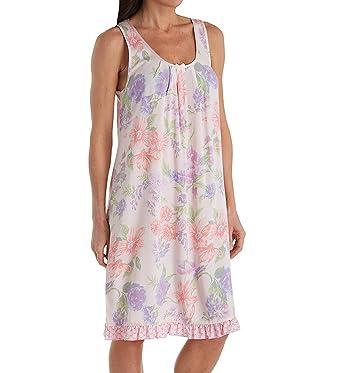 a1279d380b Miss Elaine Woven Sleeveless Short Gown (229708) S Peach Lavender Sprays