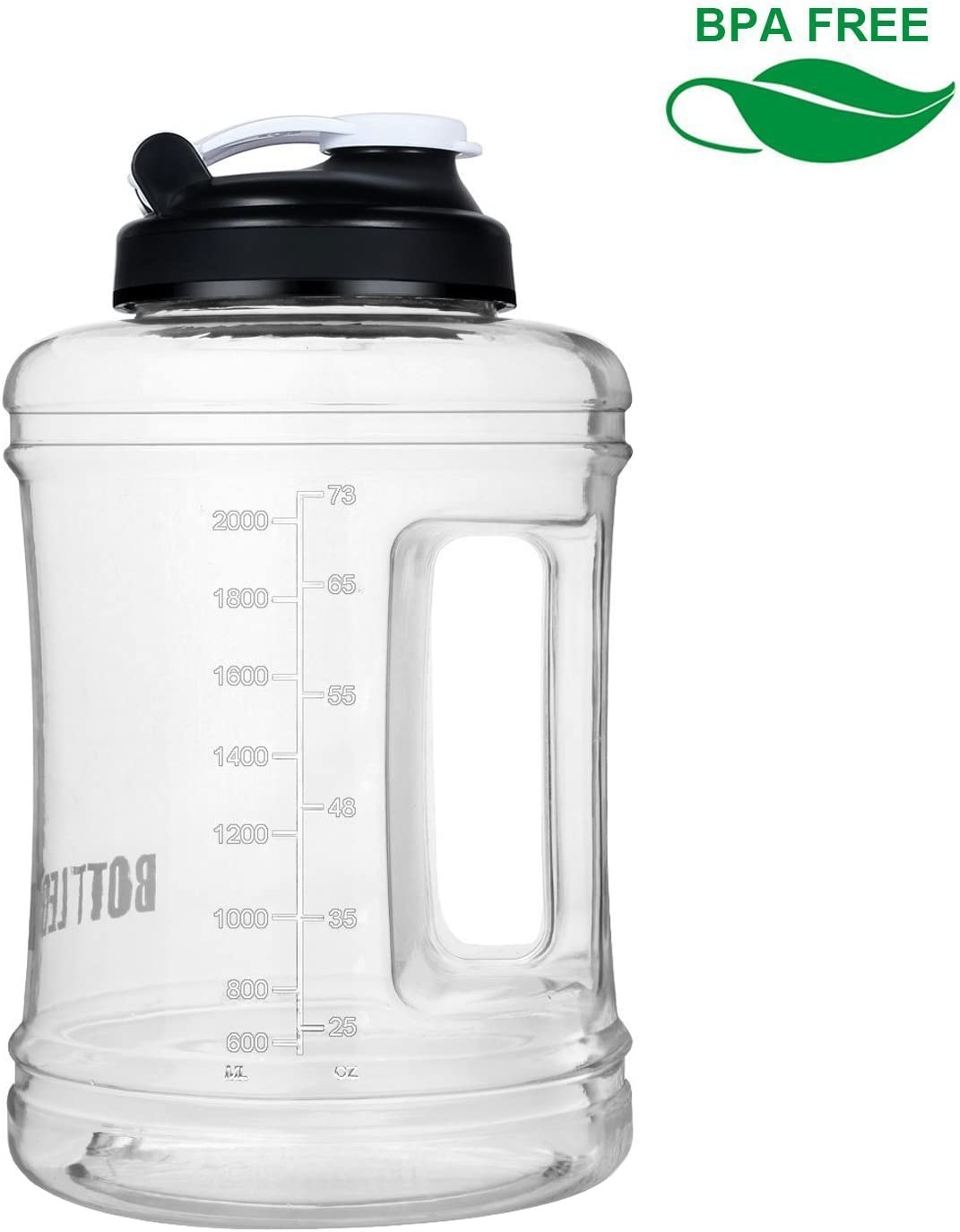 BOTTLED JOY LargeWaterBottle Half Gallon WaterJug Wide Mouth 85 oz 2.5L BPA Free Gym Sports Hydro Jug for Outdoor and Home Drinking