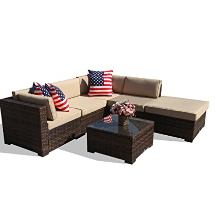 6 Piece Outdoor Patio Furniture Set, All Weather PE Brown Wicker Sectional  Set Sofas with - Amazon.com : 6 Piece Outdoor Patio Furniture Set, All Weather PE