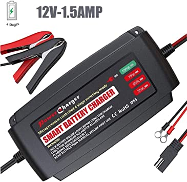Battery Charger 12V 1A Portable Lead Acid Battery Smart Charger With Alligator Clips