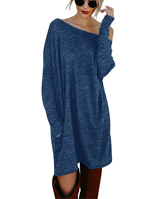 Minetom Damen Pullover Kleider Winterkleider Kleid Strickkleider Langarm  Mode Stricksweat Strickpullover Lose Sweatkleid Minikleid Blau DE f03e62c7c2