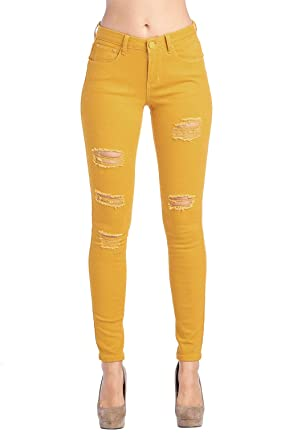 661ad08d2251 ICONICC Women s Butt Lifting Ripped Skinny Jeans Mustard Yellow  (JP0048T Mustard 1)