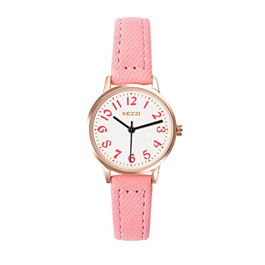 ARMIDO Watches for Girls – Easy Time Telling Kids Watch with Pink Faux Leather Strap