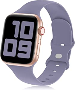 Hehighti Compatible with Apple Watch Bands 38mm 40mm 42mm 44mm, Soft Silicone Sport Wristbands Replacement Strap for iwatch Bands Watch SE/Series 6/5/4/3/2/1,Lavender Grey