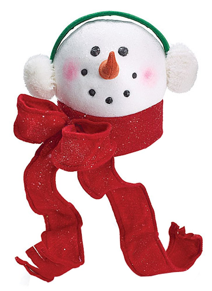 Snowman Head with Scarf & Earmuffs Christmas Tree Topper Treetop
