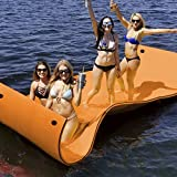 Goplus 12' x 6' Floating Water Pad for Lakes 3 Layer Floating Foam Mat Aqua Buoyancy Pad Designed for Water Recreation and Relaxing (Orange + Black)