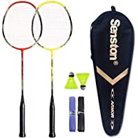 Senston - 2 Player Badminton Racquets Set Double Rackets Carbon Shaft Badminton Racket Set- 1 Carrying Bag Included