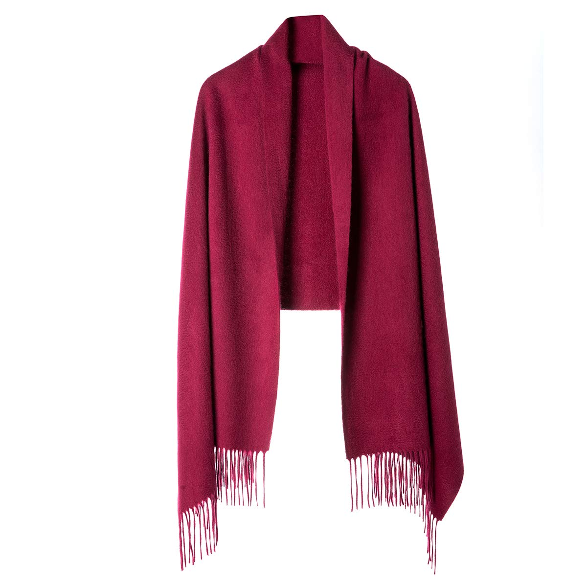 Cashmere Wrap Shawl for Women | Authentic 100% Pure Cashmere Extra Large (75inx25.6in) Scarf, Dark Red
