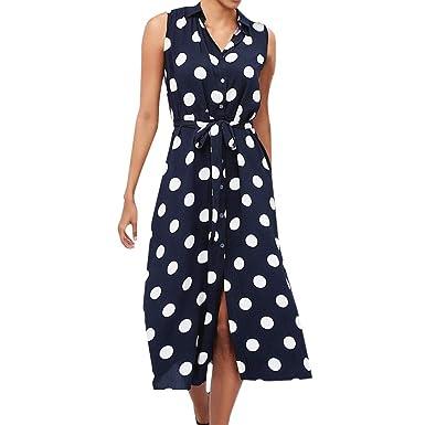 Vestido Mujer De Fiesta Boho de Mujer Polka Dot Impreso Moda con Cuello en V Cintura con Cordones Vestidos sin Mangas: Amazon.es: Ropa y accesorios