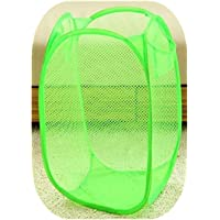 Small Rectangle Mesh Storage Basket Folding Nursery Hampers for Baby Clothes Closet Organizer Kids Room Waste Bins,Green