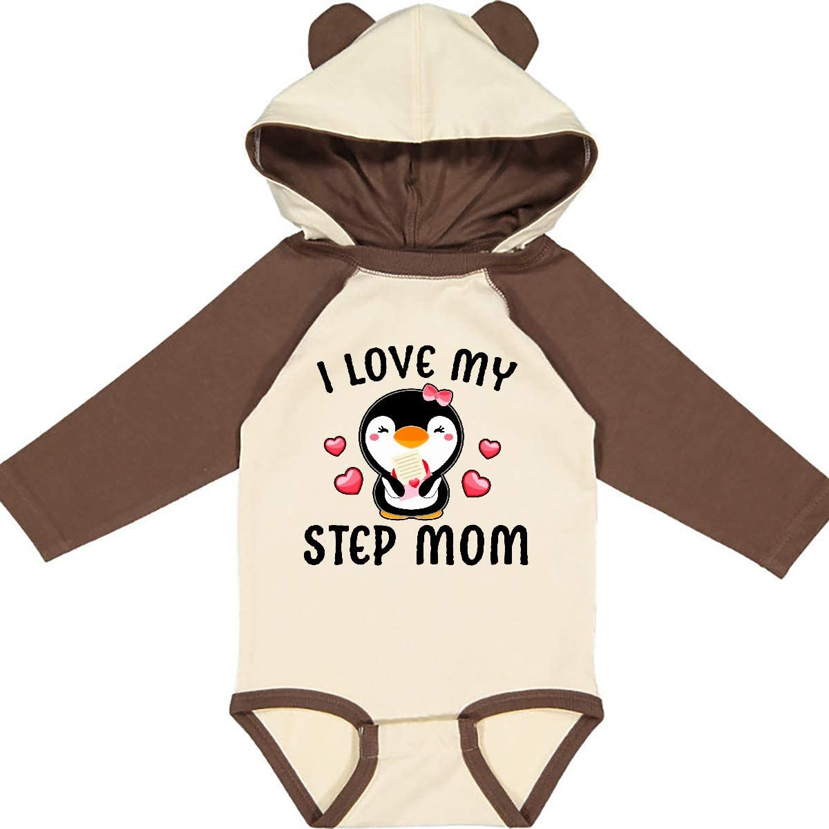 inktastic I Love My Step Mom with Cute Penguin and Hearts Long Sleeve Creeper