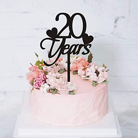Decoración para tarta de 20 años de cumpleaños, decoración ...