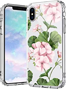 MOSNOVO White Geraniums Floral Flower Pattern Designed for iPhone Xs Case/Designed for iPhone X Case - Clear