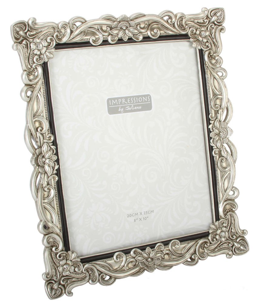 Impressions - Antique Silver Floral Resin Photo Frame with Crystals ...