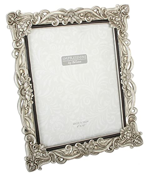 Floral Antique Silver Photo Frame 8 x 10: Amazon.co.uk: Kitchen & Home