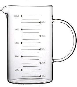 Lautechco High Borosilicate Food Grade Glass Measuring Cup Pot Kettle (1000ml)