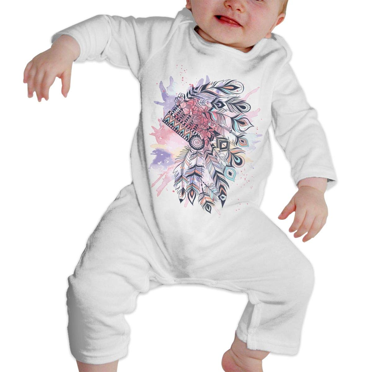 Baby Crew Neck Long Sleeve Solid Color Climbing Clothes Tribal Headdress Feather Crawling Clothes