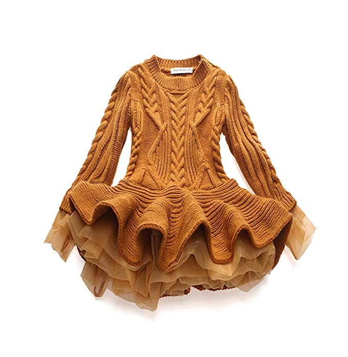 077cfd85064c belababy Children Girls Sweater Dresses Knitted Stitching Pleated ...