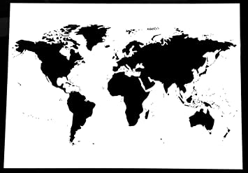 Large World Map Stencil High Detail Laser Cut Size A Mm X - Large world map black and white