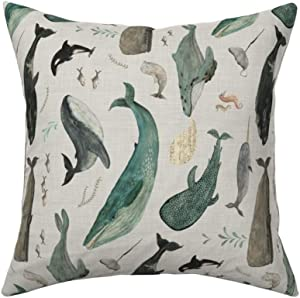 Roostery Throw Pillow, Whales of The Oceans Basking Shark Pod Humpback Whale Narwhal Orca Beluga Illustrative Mammals Print, Organic Cotton Sateen, Knife Edge Accent Pillow 18in x 18in with Insert