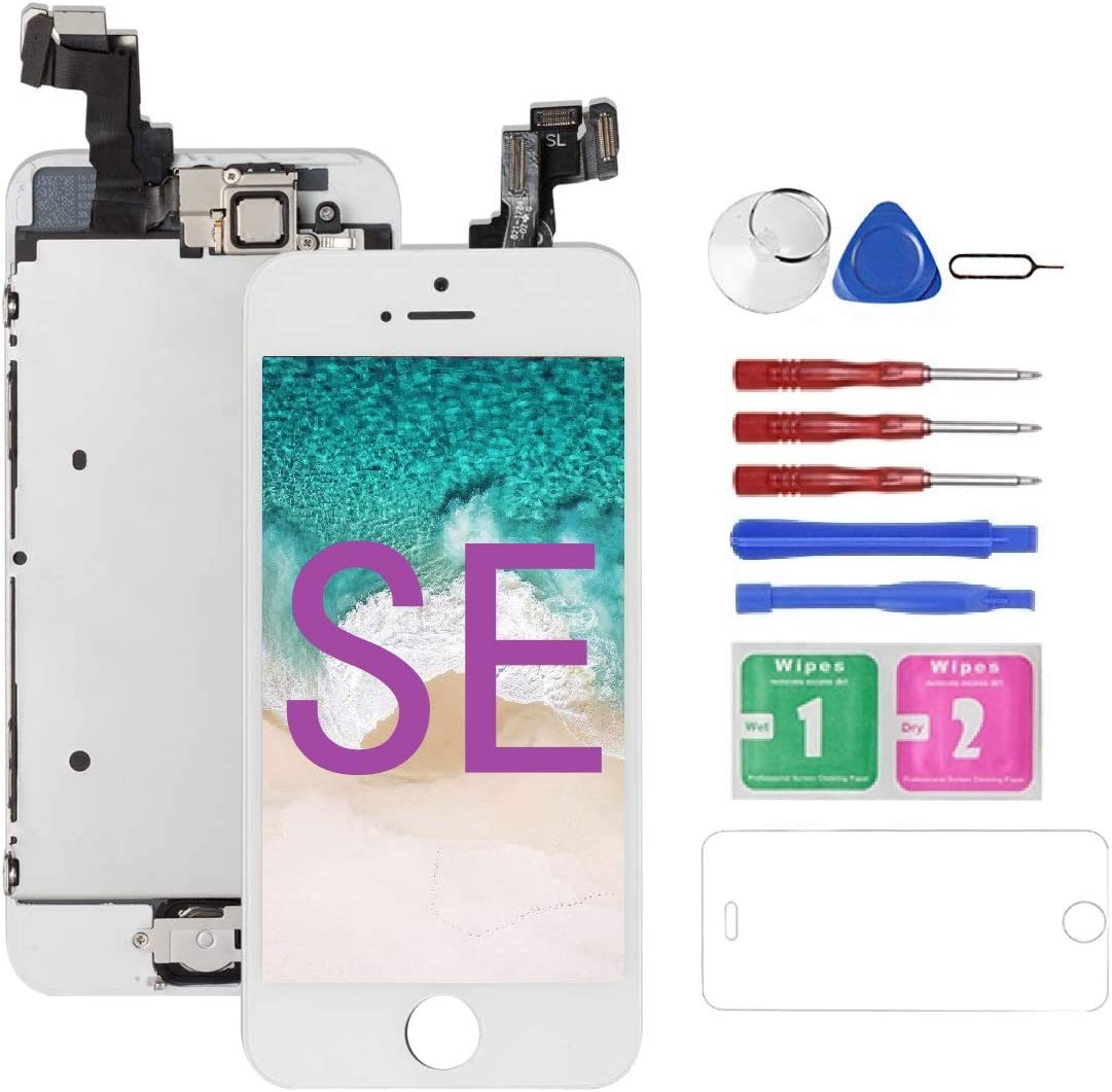 Mobkitfp for iPhone SE Screen Replacement White for A1662,A1723,A1724, Compatible with iPhone 5SE Screen Replacement Digitizer LCD Touch Display, Pre-Assembled with Camera, Ear Speaker