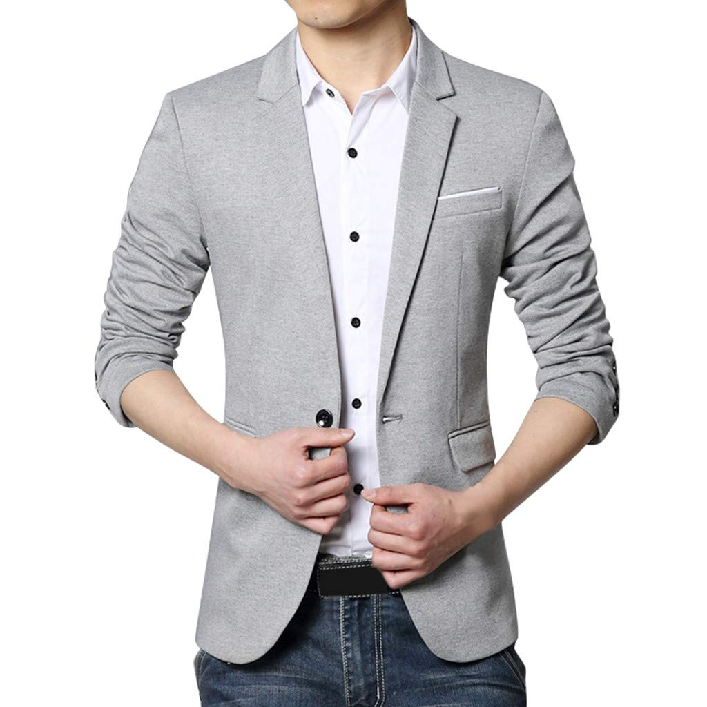 Fauean Fashion Men's a Suit Button for self-Cultivation Business Coat Jacket Man Jacket - Jacket -Casual-Slim Gray by Fauean Clothing