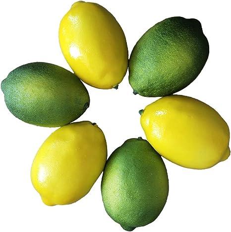 T7U3 1//6Pcs pcs Limes Lemons Decorative Plastic Artificial Fruit Imitation Fake