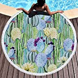 huge tie dye blanket - Melory Tropical Pineapple Cactus Round Beach Towel Blanket with Tassels Ultra Soft Super Water Absorbent Multi-Purpose Beach Throw 59 inch