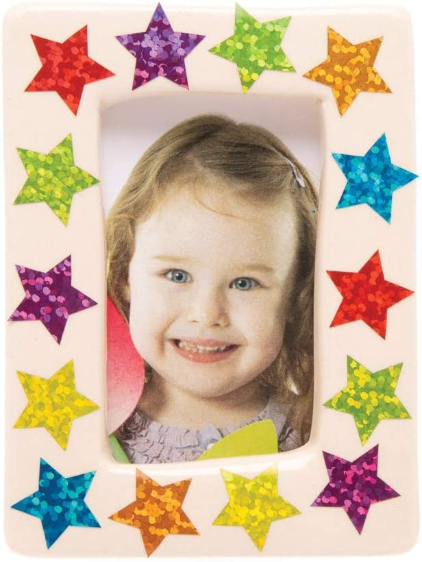 Pack of 400 Christmas Arts and Crafts Baker Ross Mini Holographic Star Stickers